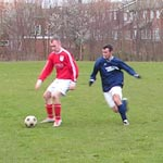 Lewis holds the ball off in the second game against Lord Seaham
