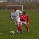 Mark Middlemiss turns with the ball in our home win over Seaham Leisure in April.