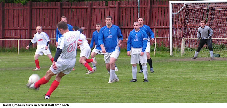 Dave Graham strikes a free-kick.