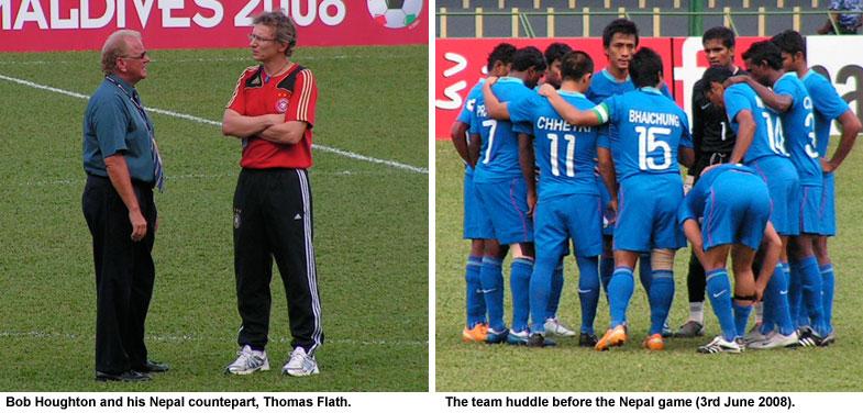 Bob Houghton, Thomas Flath and the India team prior to kick off.