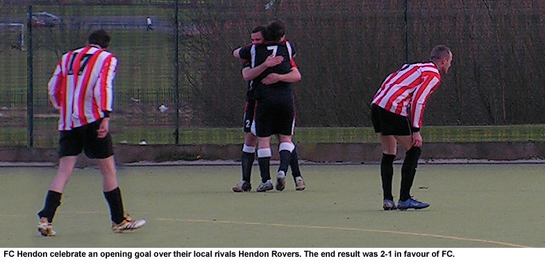 FC Hendon celebrate a goal over their rivals, Hendon Rovers