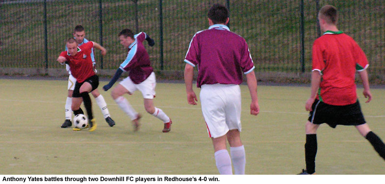 Anthony Yates in action for Redhouse Youths against Downhill FC