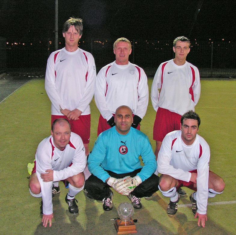 The winning team Sporting, John Hunt, Scott Johnstone, Mark Catcheside, Trevor Walker, Tarnjit Sangha and Borat.