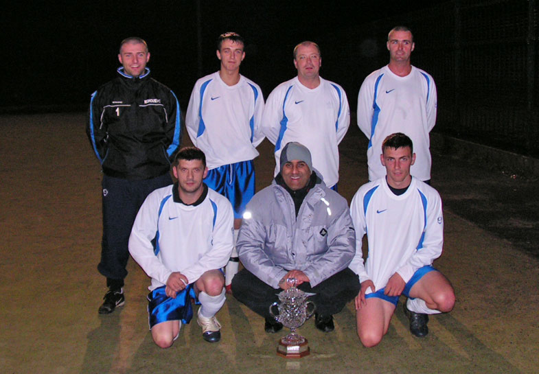 12th Open Cup winners! Gary Davison, Mark Catcheside, Trevor Walker, Gareth Greener at the back, with Mark Kelsey, Tarnjit Sangha and Billy Harrison at the front. Sporting Redhouse comfortably defeated Redhouse Youth's 3-0 in the Final.
