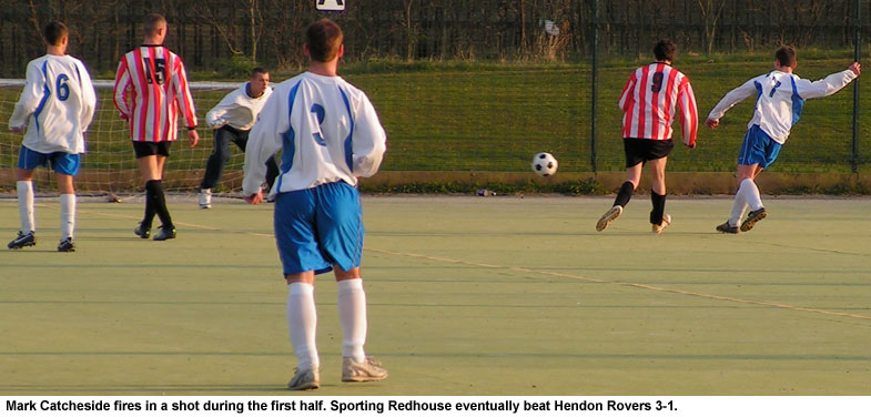 The current champions, Sporting Redhouse, cruised to a 3-1 win over Hendon Rovers