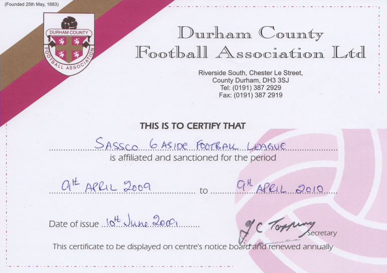 2009-2010 Durham FA affiliation