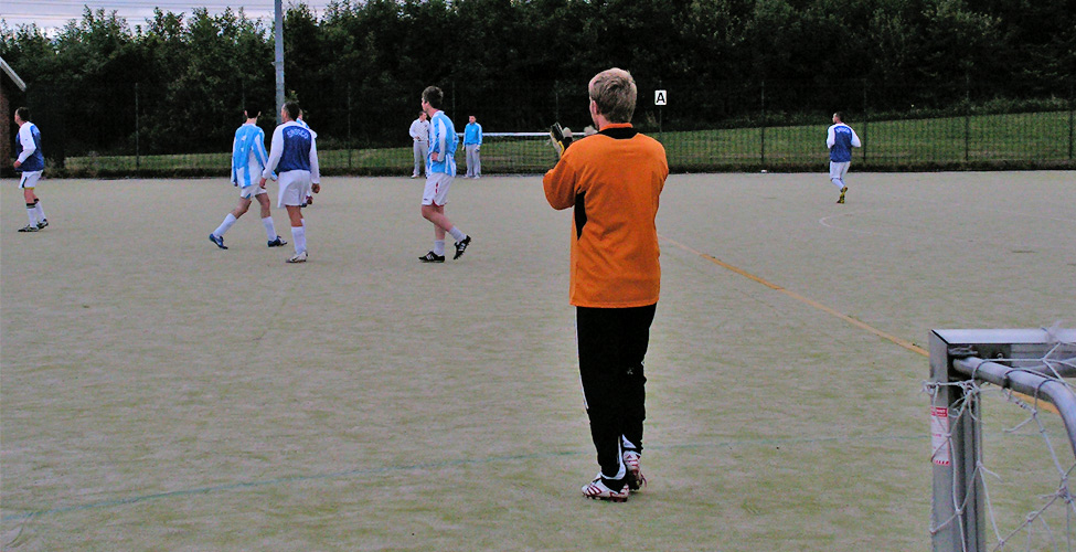 Gary Tyzack, in goal for the first half for Wear Consulting, applauds his team in the eventual 2-0 win over Redhouse Stars.