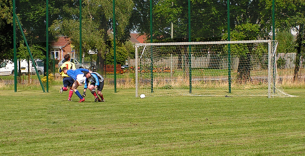 Stoker turns away as the ball was poked into the Newcastle BT goal for Sassco's equaliser.