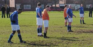 A rare sight; a retarded back line of Sangha, Stoker, Muers and McDermont.