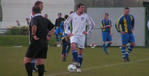 Wayne Ramsay prepares to take the second half centre-ball. Photo by Dave Gourlay.