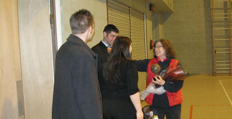 Joyce receiving her award.