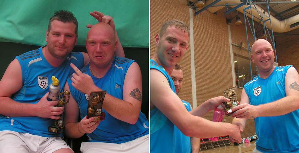 Award winners: David Smith and Mark Muers. Plus Marc McDermont, symbolically hands over the leading goalscorer award.