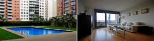 The Diagonal Mar Dos apartment in Barcelona is a luxury apartments in Barcelona, situated in a new building with a swimming pool.