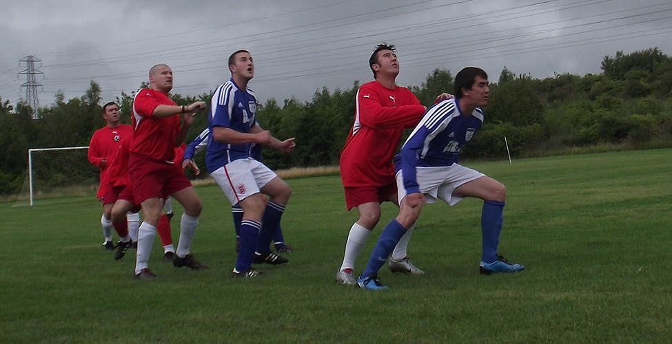 Dingwall, Robson, Pea, Pea and Greenwell waiting for the ball to come down.