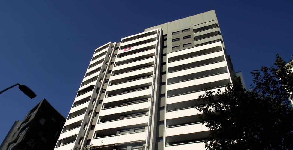 The Sassco flag flying high on the 15th floor in Barcelona.