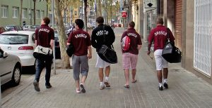 Sassco on tour along the Barcelona streets.