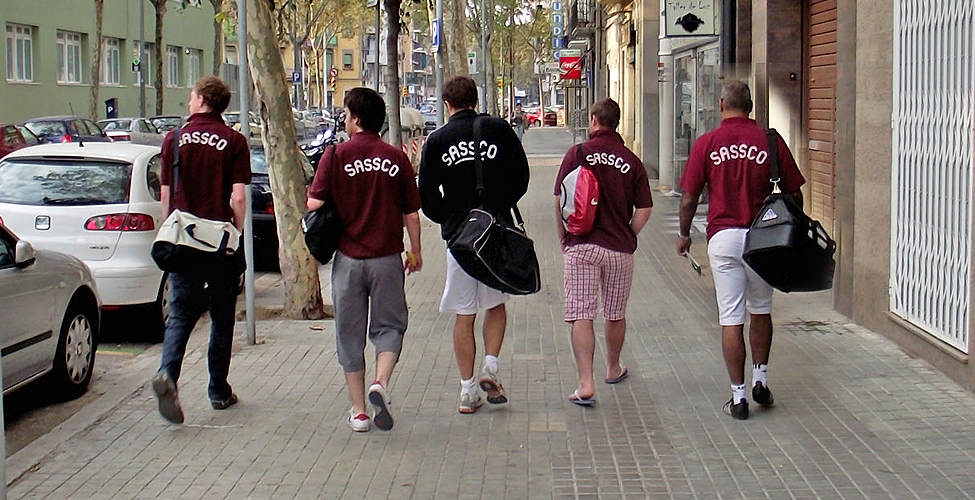 Sassco on tour along the Barcelona streets.