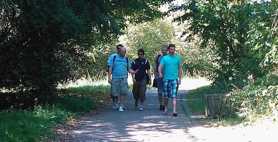 Woodland walk towards the University venue.