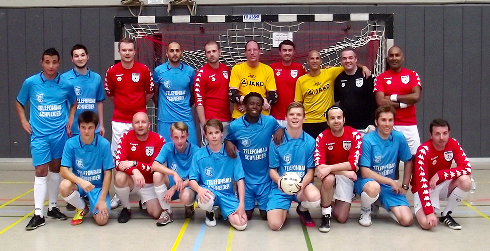 The entire Futsal Lions and Sassco squad before the game.