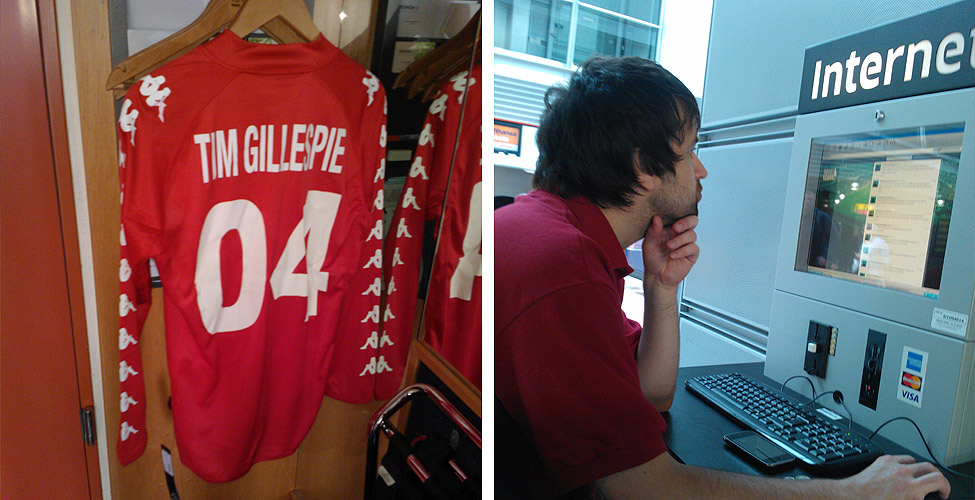 Tim's unblemished shirt, ready for the next tour and Dave G intently screwing up his fantasy team.