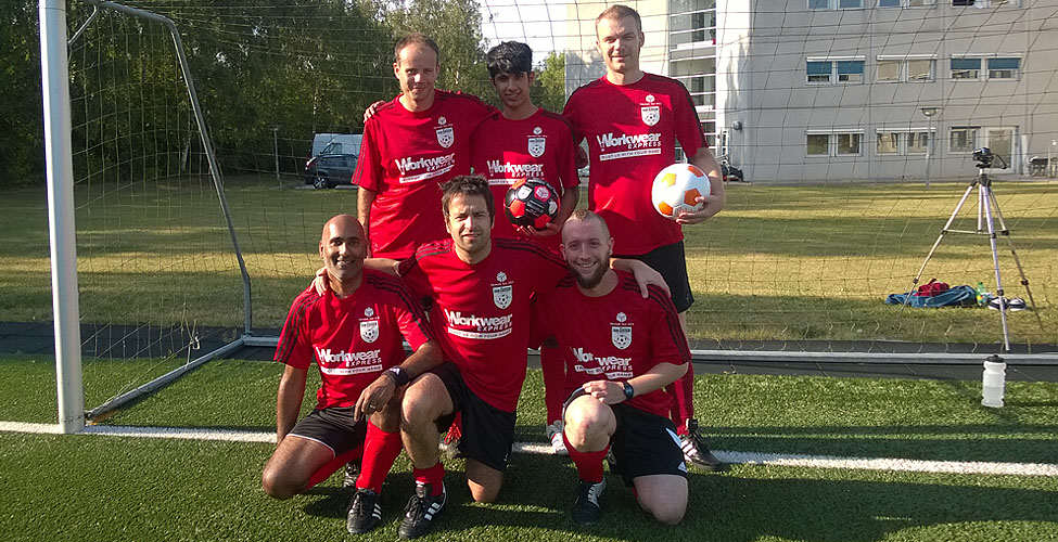 Sassco team in Denmark. Gillespie, Sangha, Dixon, with Sangha, Gourlay and Barker