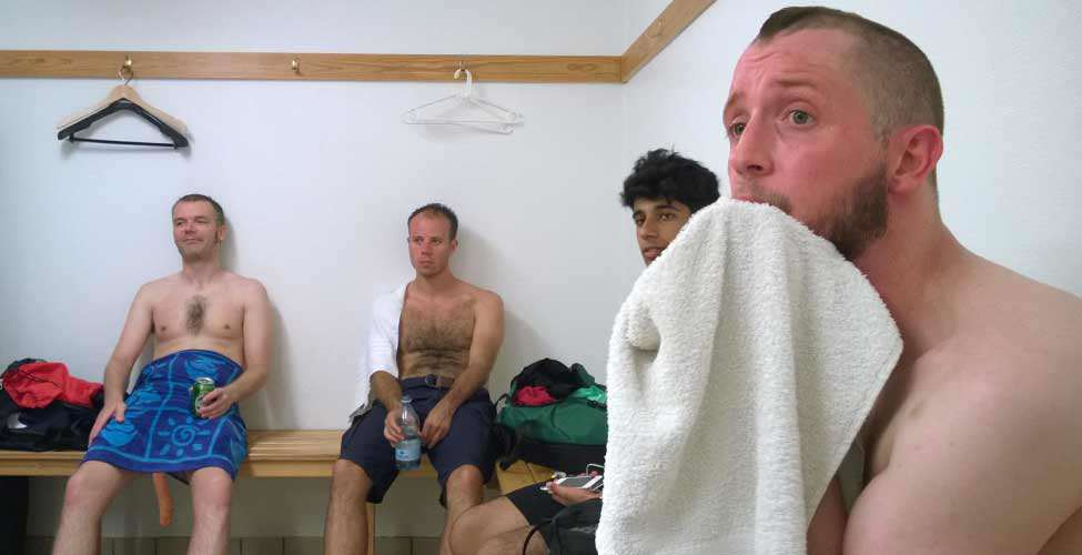Everyone is in awe as Dave G. steps out of the shower. Dixon's not excited.