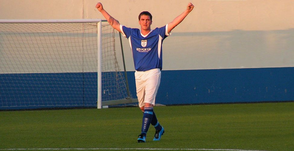 Greenwell celebrates his free-kick goal in Portugal for Sassco.co.uk in a 2-0 win, back in 2009.