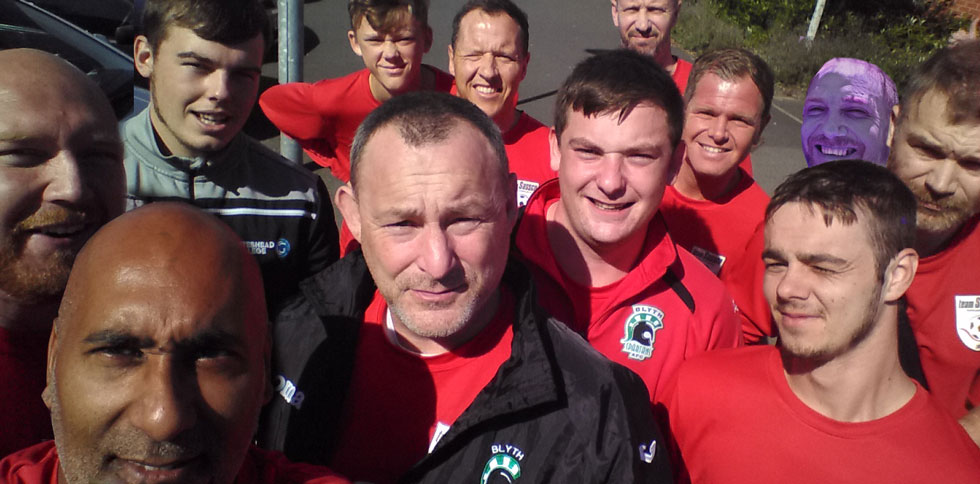 The team selfie before the game. One player was missing so he was Photoshopped in - try and guess...