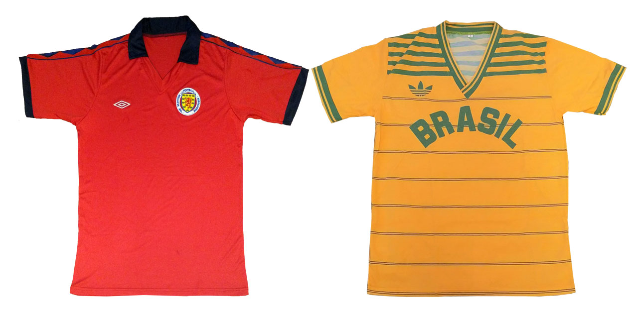 Umbro Scotland and Adidas Brazil shirts from 1980 and 1984